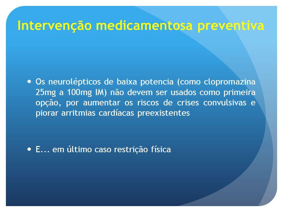 Intervenção medicamentosa preventiva Os neurolépticos de baixa potencia (como clopromazina 25mg a 100mg IM) não devem ser usados como primeira opção,