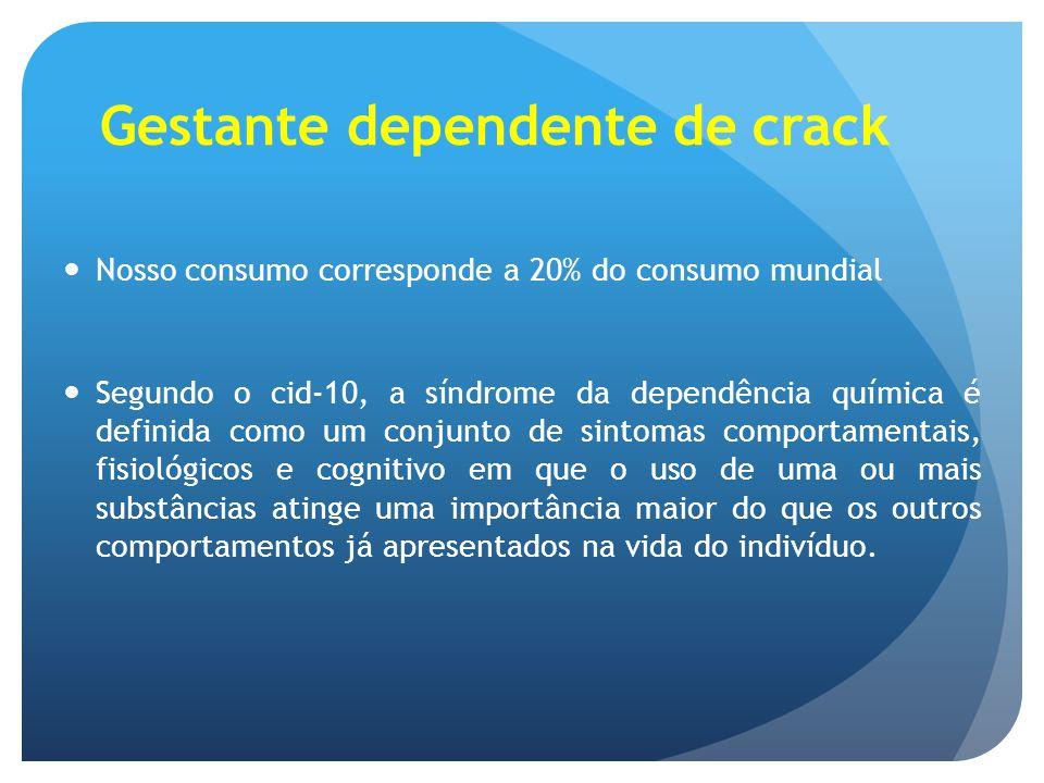 Gestante dependente de crack Nosso consumo corresponde a 20% do consumo mundial Segundo o cid-10, a síndrome da dependência química é definida como um