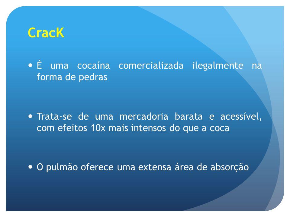 CracK É uma cocaína comercializada ilegalmente na forma de pedras Trata-se de uma mercadoria barata e acessível, com efeitos 10x mais intensos do que
