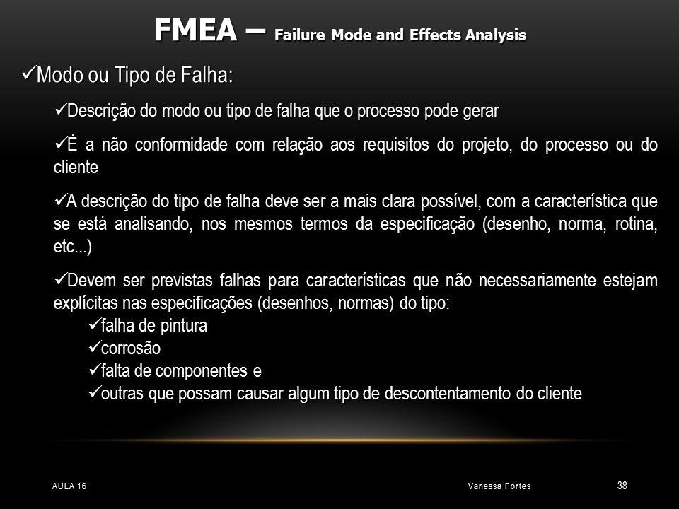 Vanessa FortesAULA 16 38 Modo ou Tipo de Falha: Modo ou Tipo de Falha: Descrição do modo ou tipo de falha que o processo pode gerar Descrição do modo