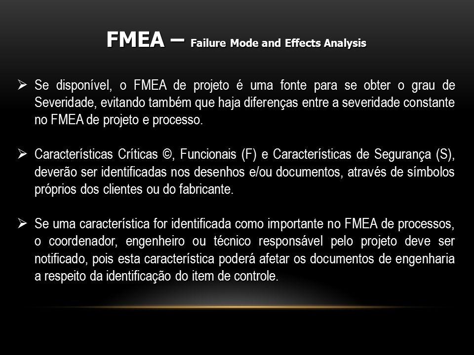  Se disponível, o FMEA de projeto é uma fonte para se obter o grau de Severidade, evitando também que haja diferenças entre a severidade constante no