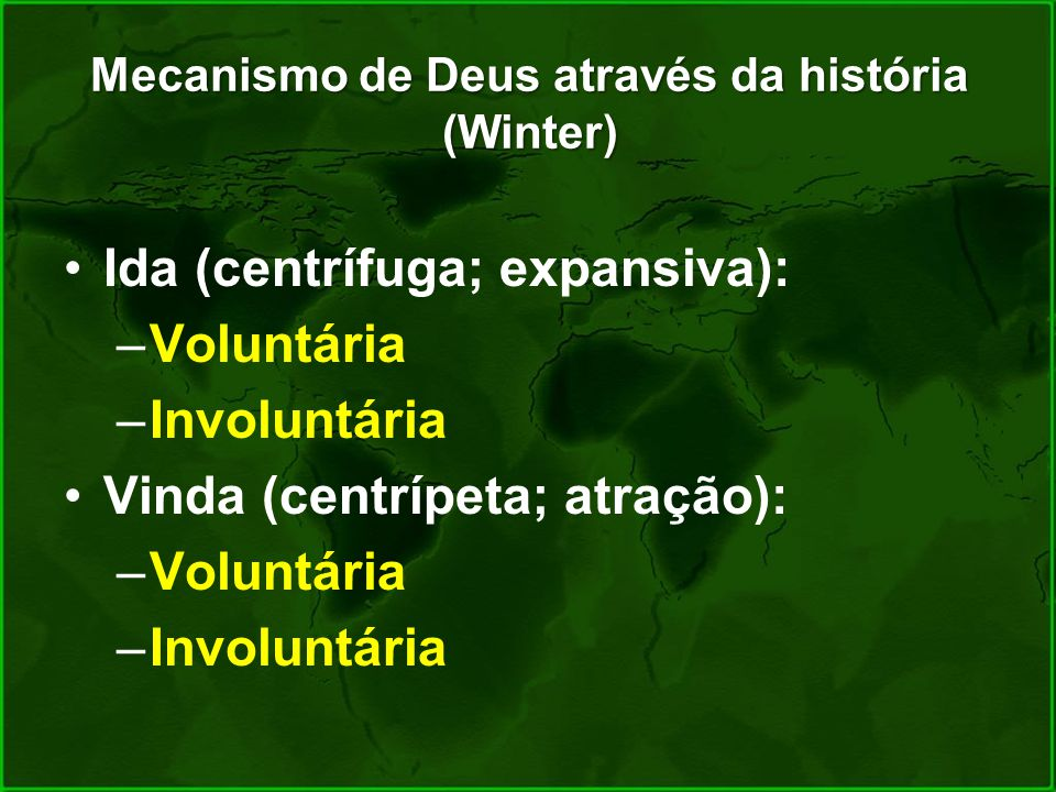 Mecanismo de Deus através da história (Winter) Ida (centrífuga; expansiva): –Voluntária –Involuntária Vinda (centrípeta; atração): –Voluntária –Involu