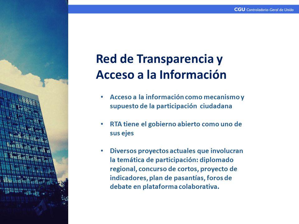 Acceso a la información como mecanismo y supuesto de la participación ciudadana RTA tiene el gobierno abierto como uno de sus ejes Diversos proyectos