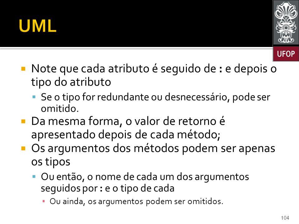  Note que cada atributo é seguido de : e depois o tipo do atributo  Se o tipo for redundante ou desnecessário, pode ser omitido.
