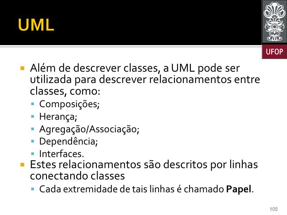  Além de descrever classes, a UML pode ser utilizada para descrever relacionamentos entre classes, como:  Composições;  Herança;  Agregação/Associação;  Dependência;  Interfaces.
