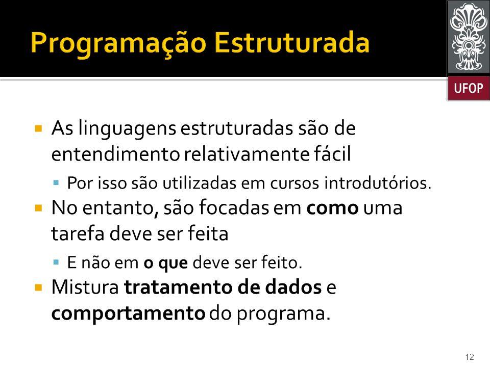  As linguagens estruturadas são de entendimento relativamente fácil  Por isso são utilizadas em cursos introdutórios.