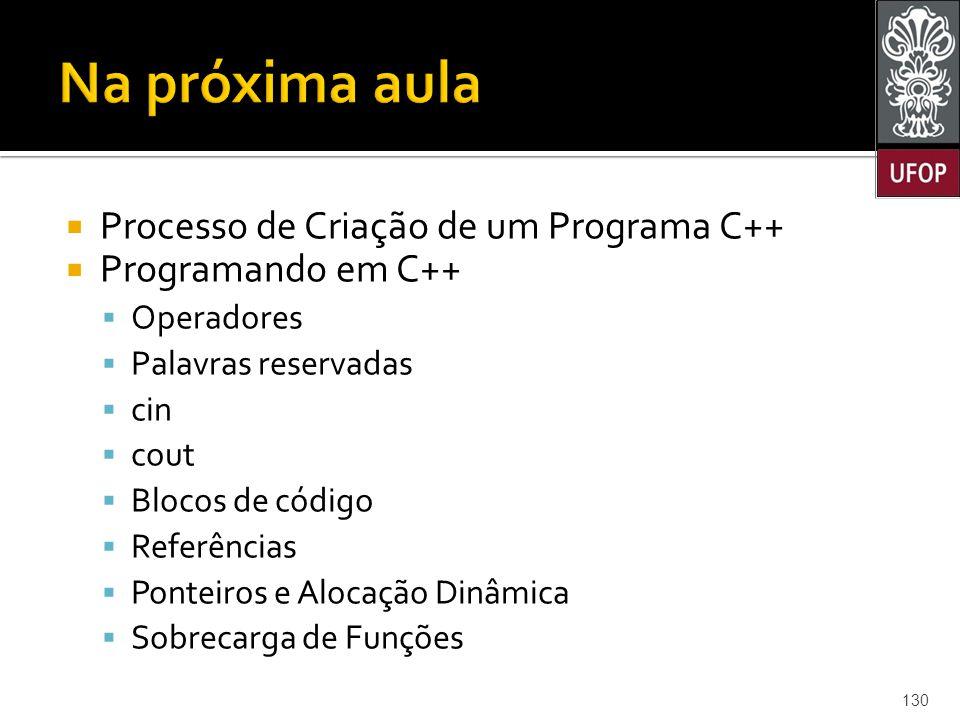  Processo de Criação de um Programa C++  Programando em C++  Operadores  Palavras reservadas  cin  cout  Blocos de código  Referências  Ponteiros e Alocação Dinâmica  Sobrecarga de Funções 130