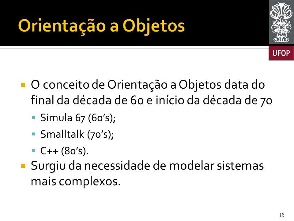  O conceito de Orientação a Objetos data do final da década de 60 e início da década de 70  Simula 67 (60's);  Smalltalk (70's);  C++ (80's).