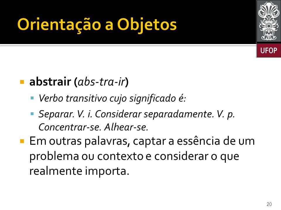  abstrair (abs-tra-ir)  Verbo transitivo cujo significado é:  Separar.