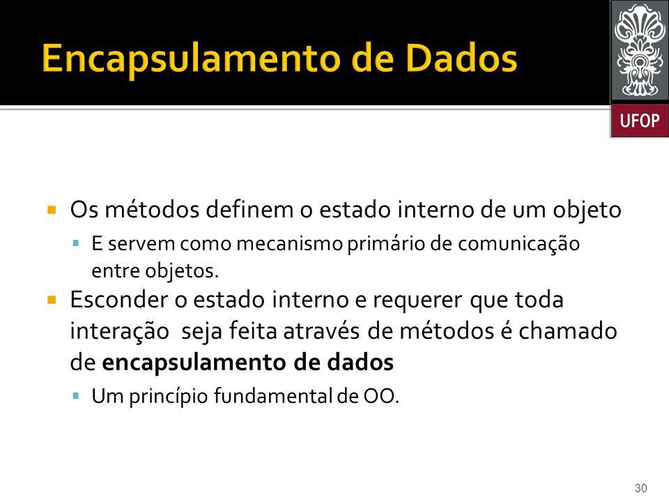  Os métodos definem o estado interno de um objeto  E servem como mecanismo primário de comunicação entre objetos.