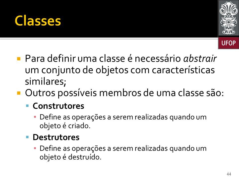  Para definir uma classe é necessário abstrair um conjunto de objetos com características similares;  Outros possíveis membros de uma classe são:  Construtores ▪ Define as operações a serem realizadas quando um objeto é criado.