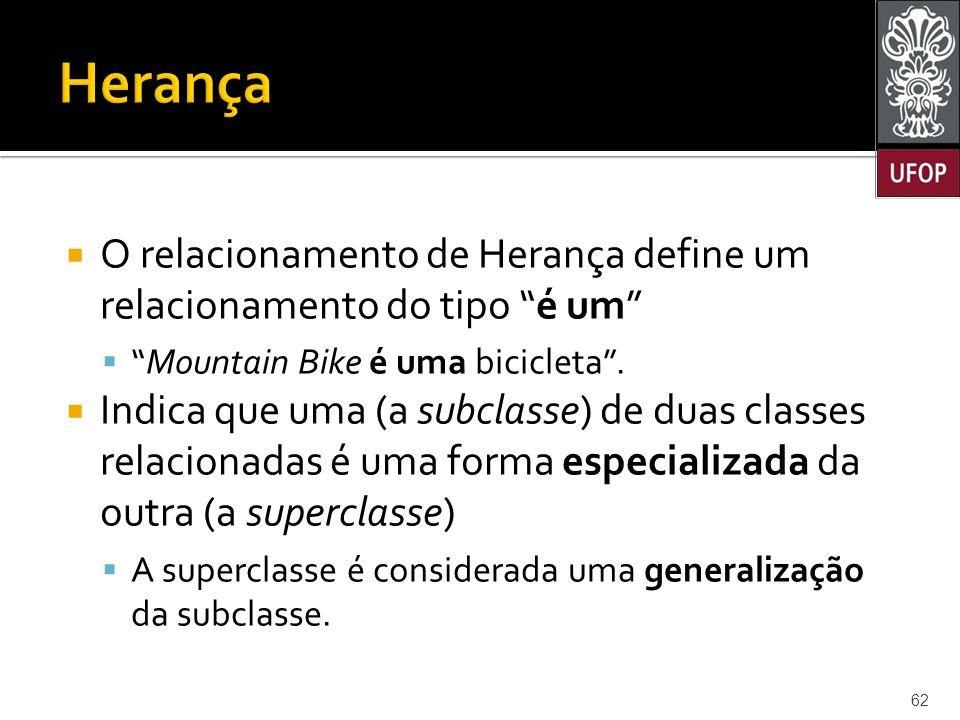  O relacionamento de Herança define um relacionamento do tipo é um  Mountain Bike é uma bicicleta .