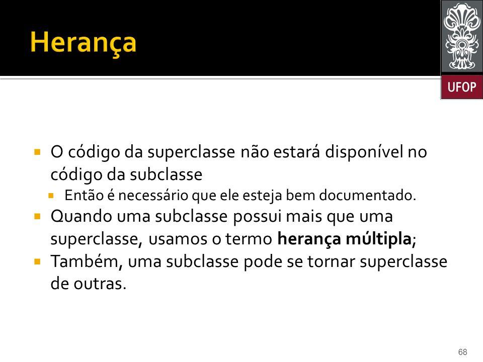  O código da superclasse não estará disponível no código da subclasse  Então é necessário que ele esteja bem documentado.