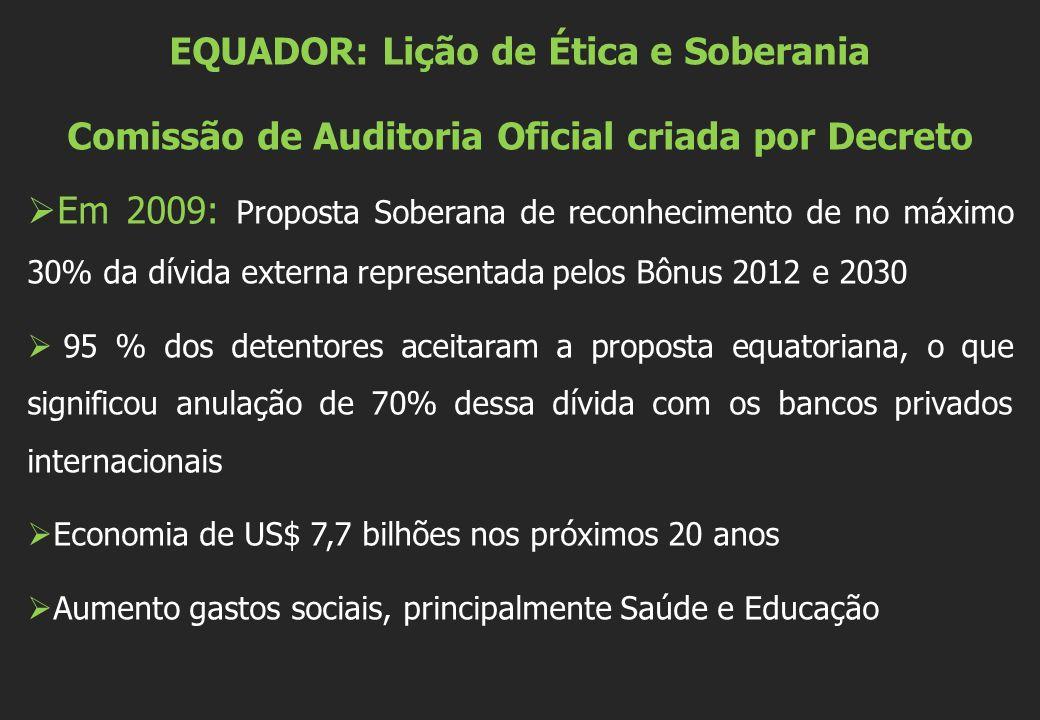 EQUADOR: Lição de Ética e Soberania Comissão de Auditoria Oficial criada por Decreto  Em 2009: Proposta Soberana de reconhecimento de no máximo 30% d