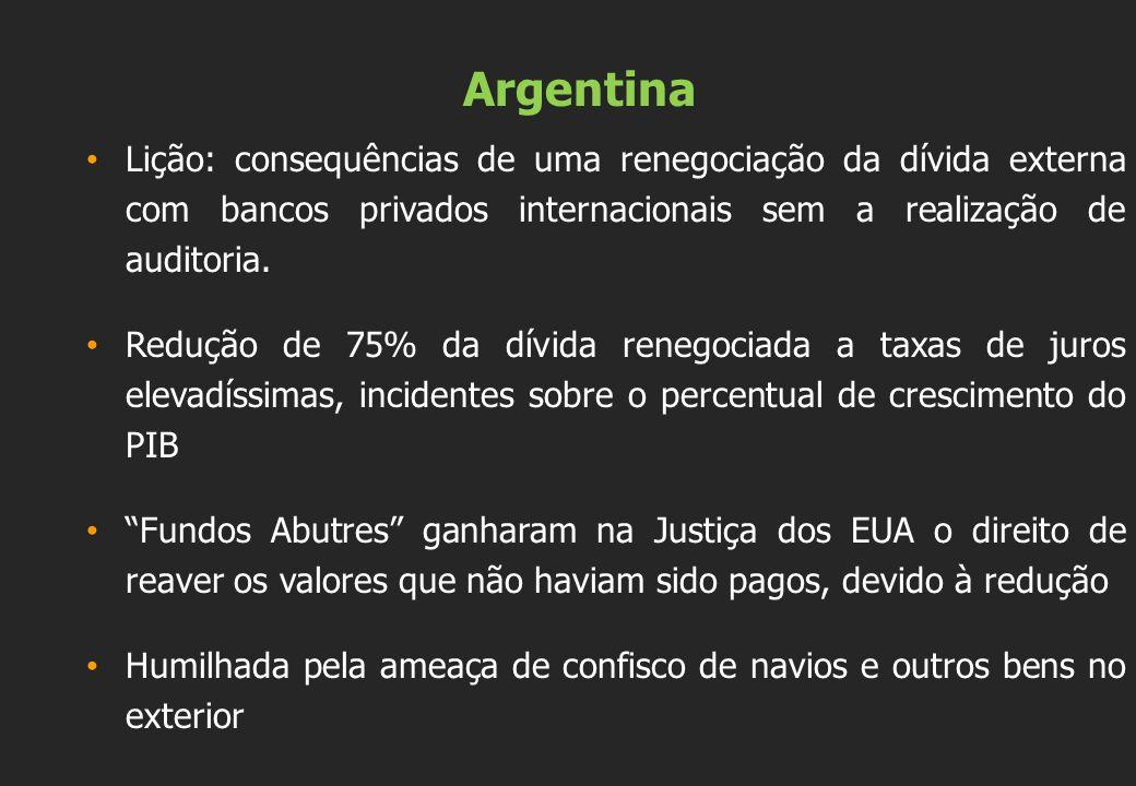 Argentina Lição: consequências de uma renegociação da dívida externa com bancos privados internacionais sem a realização de auditoria. Redução de 75%