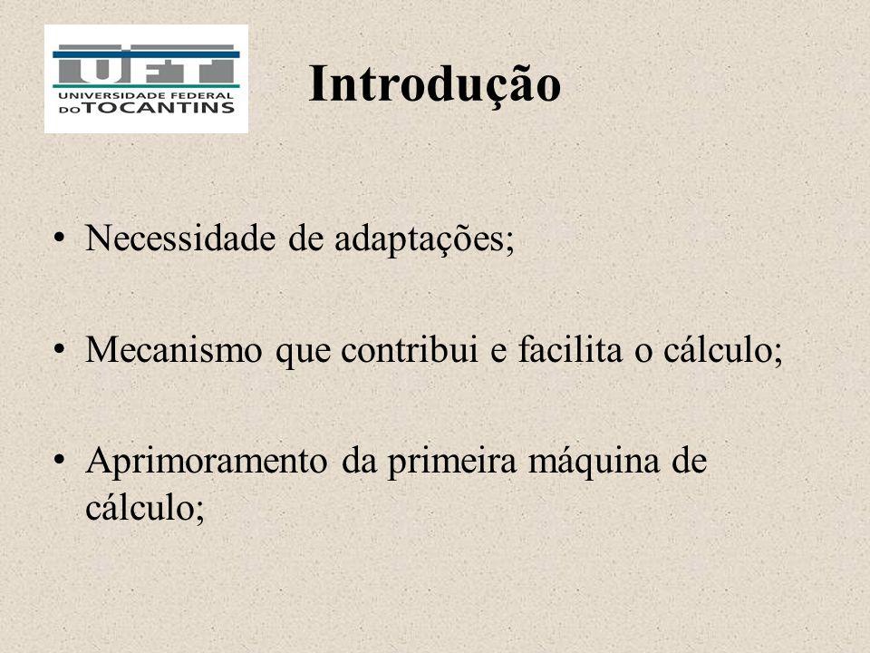 Introdução Necessidade de adaptações; Mecanismo que contribui e facilita o cálculo; Aprimoramento da primeira máquina de cálculo;