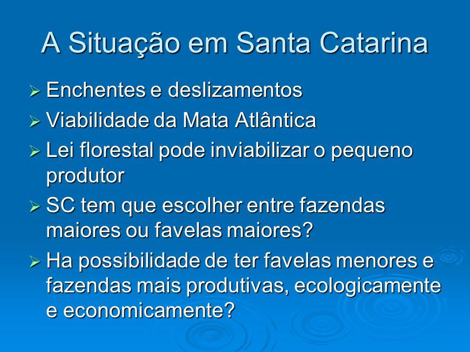 A Situação em Santa Catarina  Enchentes e deslizamentos  Viabilidade da Mata Atlântica  Lei florestal pode inviabilizar o pequeno produtor  SC tem que escolher entre fazendas maiores ou favelas maiores.