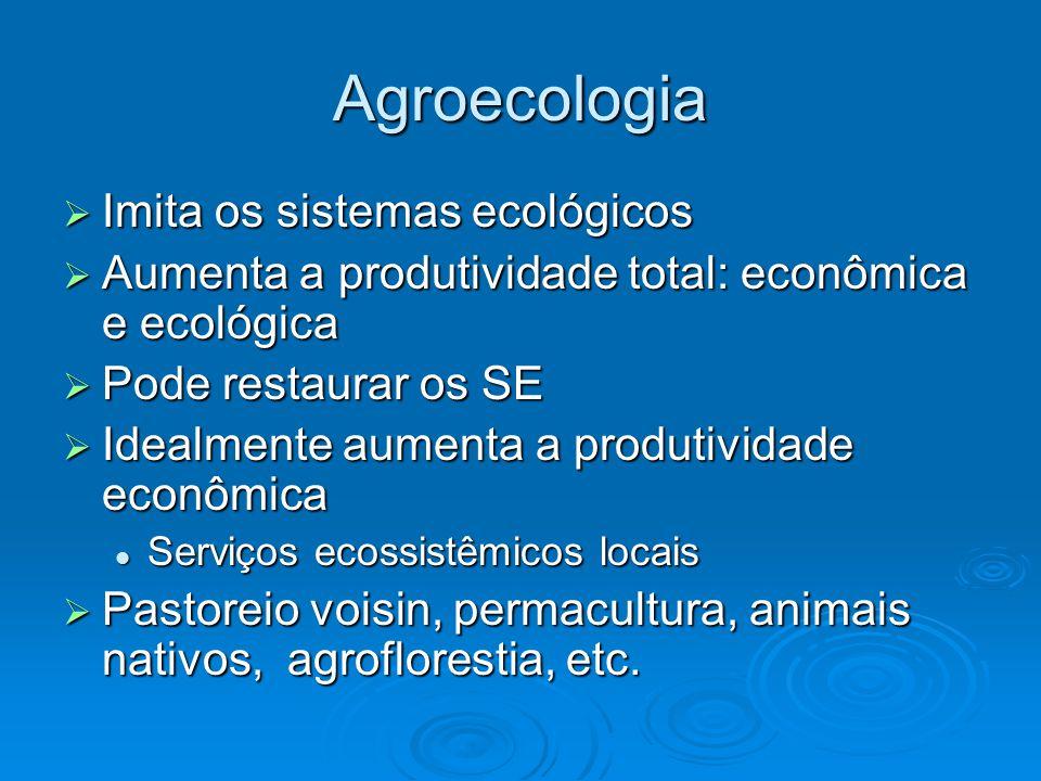 Agroecologia  Imita os sistemas ecológicos  Aumenta a produtividade total: econômica e ecológica  Pode restaurar os SE  Idealmente aumenta a produtividade econômica Serviços ecossistêmicos locais Serviços ecossistêmicos locais  Pastoreio voisin, permacultura, animais nativos, agroflorestia, etc.