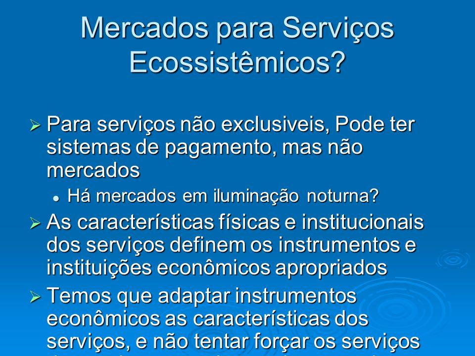 Mercados para Serviços Ecossistêmicos?  Para serviços não exclusiveis, Pode ter sistemas de pagamento, mas não mercados Há mercados em iluminação not