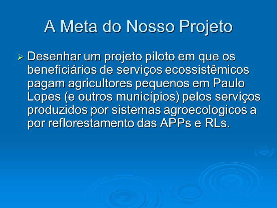 A Meta do Nosso Projeto  Desenhar um projeto piloto em que os beneficiários de serviços ecossistêmicos pagam agricultores pequenos em Paulo Lopes (e outros municípios) pelos serviços produzidos por sistemas agroecologicos a por reflorestamento das APPs e RLs.
