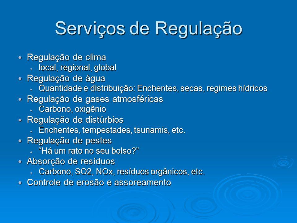 Serviços de Regulação Regulação de clima Regulação de clima local, regional, global local, regional, global Regulação de água Regulação de água Quanti