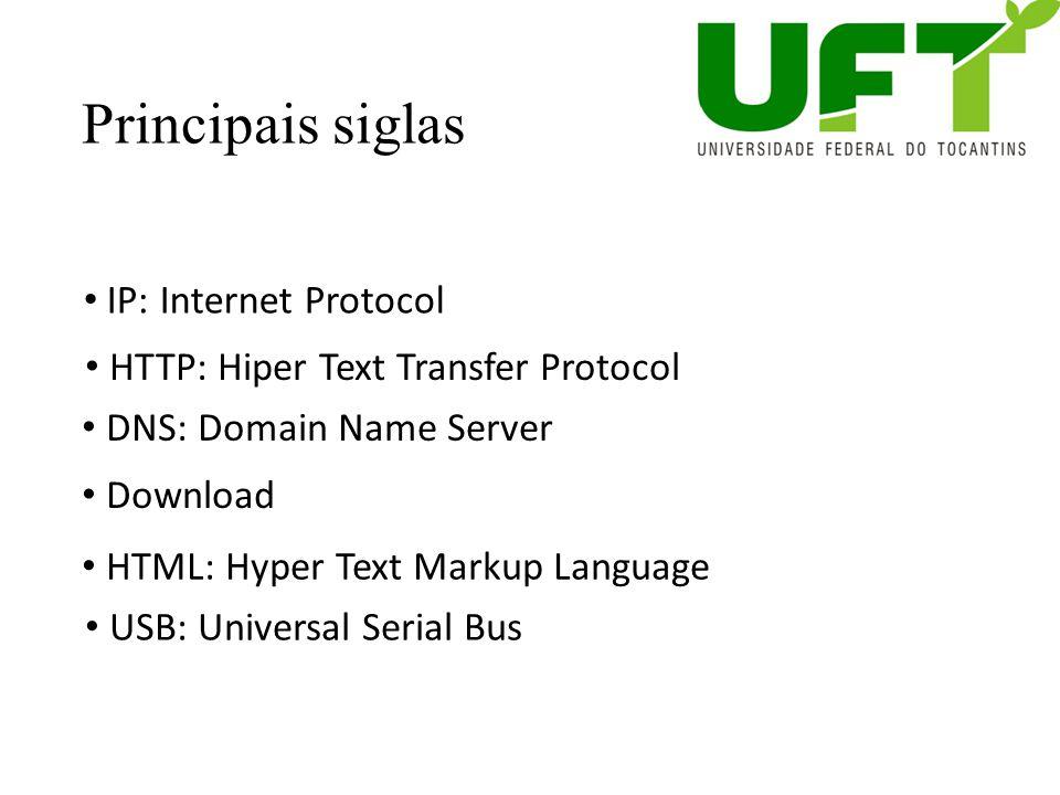 Principais siglas IP: Internet Protocol HTTP: Hiper Text Transfer Protocol DNS: Domain Name Server Download HTML: Hyper Text Markup Language USB: Univ