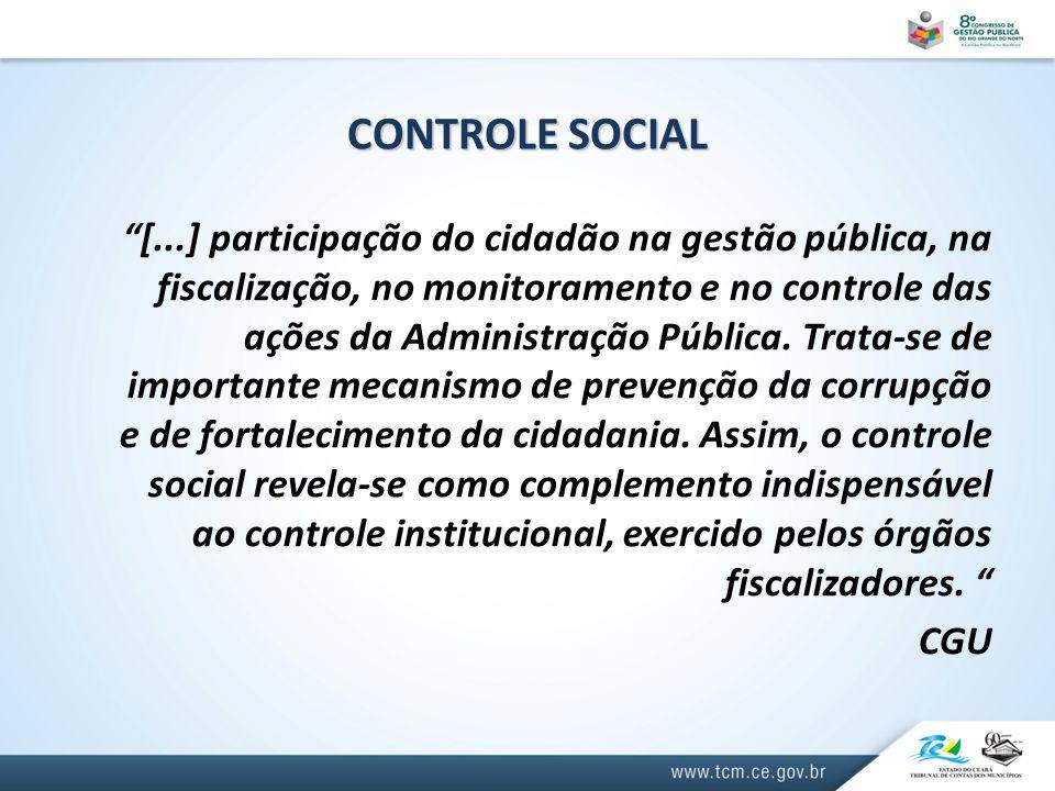 CONTROLE SOCIAL [...] participação do cidadão na gestão pública, na fiscalização, no monitoramento e no controle das ações da Administração Pública.
