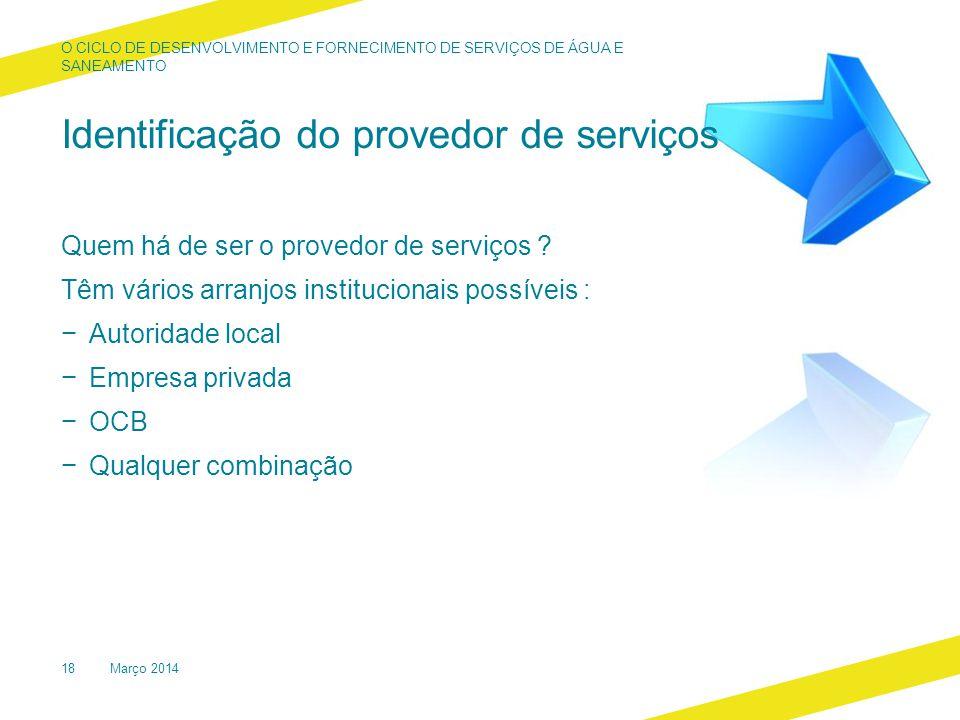 Identificação do provedor de serviços Quem há de ser o provedor de serviços .