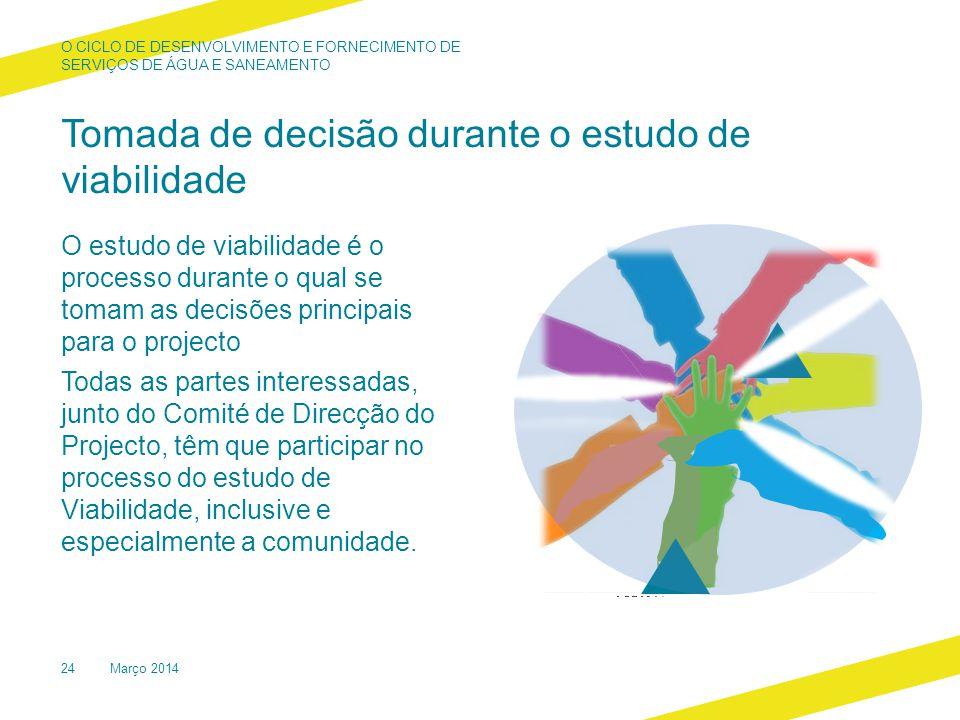 Tomada de decisão durante o estudo de viabilidade O estudo de viabilidade é o processo durante o qual se tomam as decisões principais para o projecto Todas as partes interessadas, junto do Comité de Direcção do Projecto, têm que participar no processo do estudo de Viabilidade, inclusive e especialmente a comunidade.