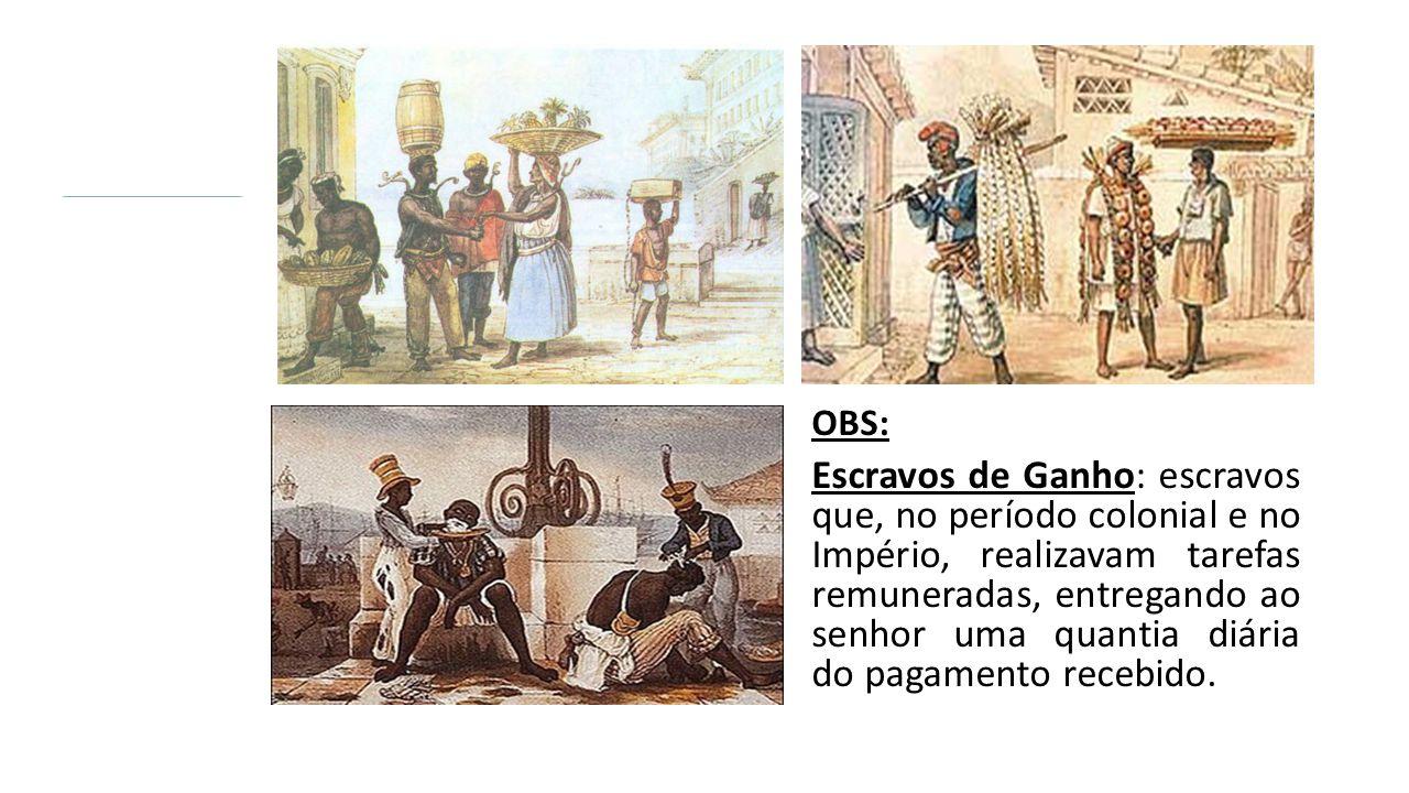OBS: Escravos de Ganho: escravos que, no período colonial e no Império, realizavam tarefas remuneradas, entregando ao senhor uma quantia diária do pagamento recebido.