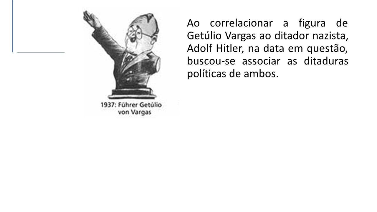 Ao correlacionar a figura de Getúlio Vargas ao ditador nazista, Adolf Hitler, na data em questão, buscou-se associar as ditaduras políticas de ambos.