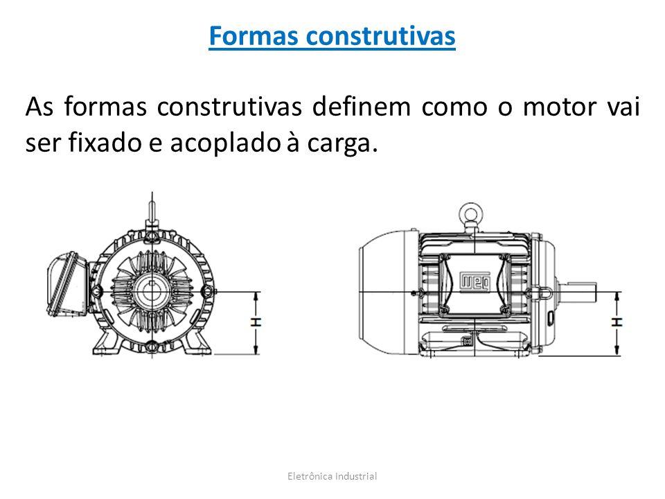 Formas construtivas As formas construtivas definem como o motor vai ser fixado e acoplado à carga. Eletrônica Industrial