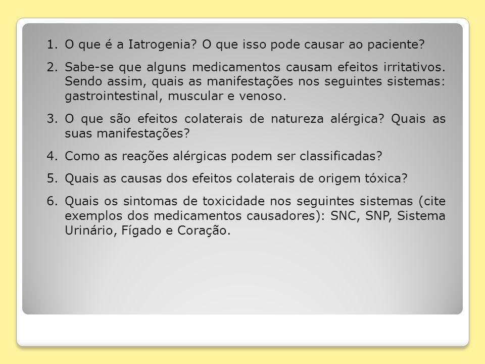 1.O que é a Iatrogenia? O que isso pode causar ao paciente? 2.Sabe-se que alguns medicamentos causam efeitos irritativos. Sendo assim, quais as manife