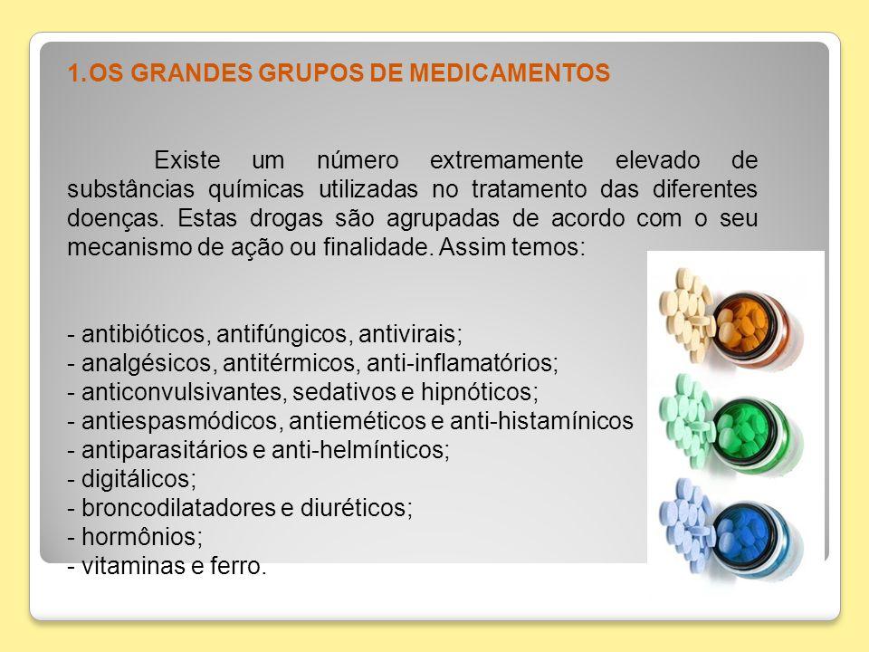 1.OS GRANDES GRUPOS DE MEDICAMENTOS Existe um número extremamente elevado de substâncias químicas utilizadas no tratamento das diferentes doenças. Est