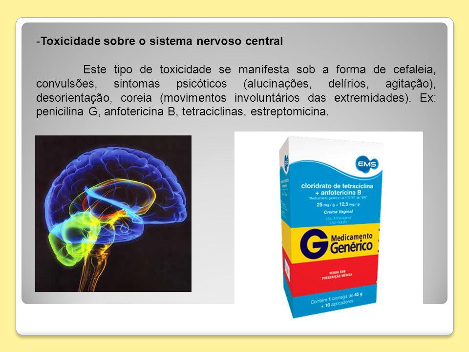 -Toxicidade sobre o sistema nervoso central Este tipo de toxicidade se manifesta sob a forma de cefaleia, convulsões, sintomas psicóticos (alucinações