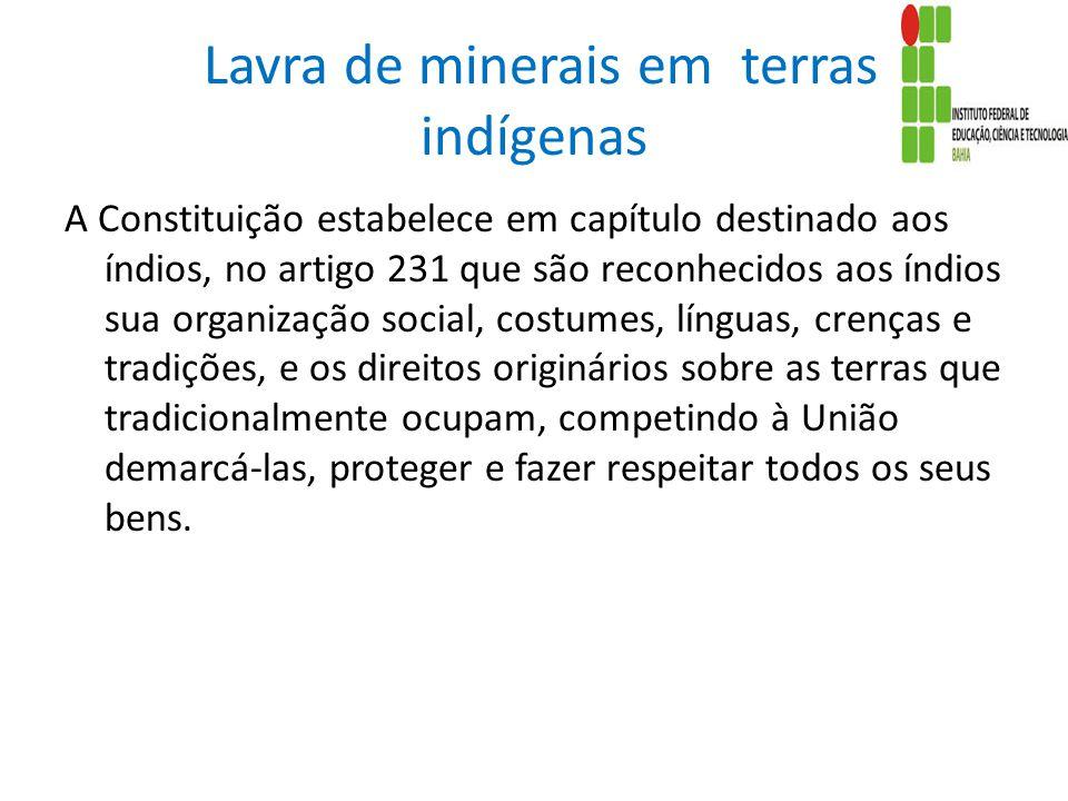 Lavra de minerais em terras indígenas A Constituição estabelece em capítulo destinado aos índios, no artigo 231 que são reconhecidos aos índios sua or