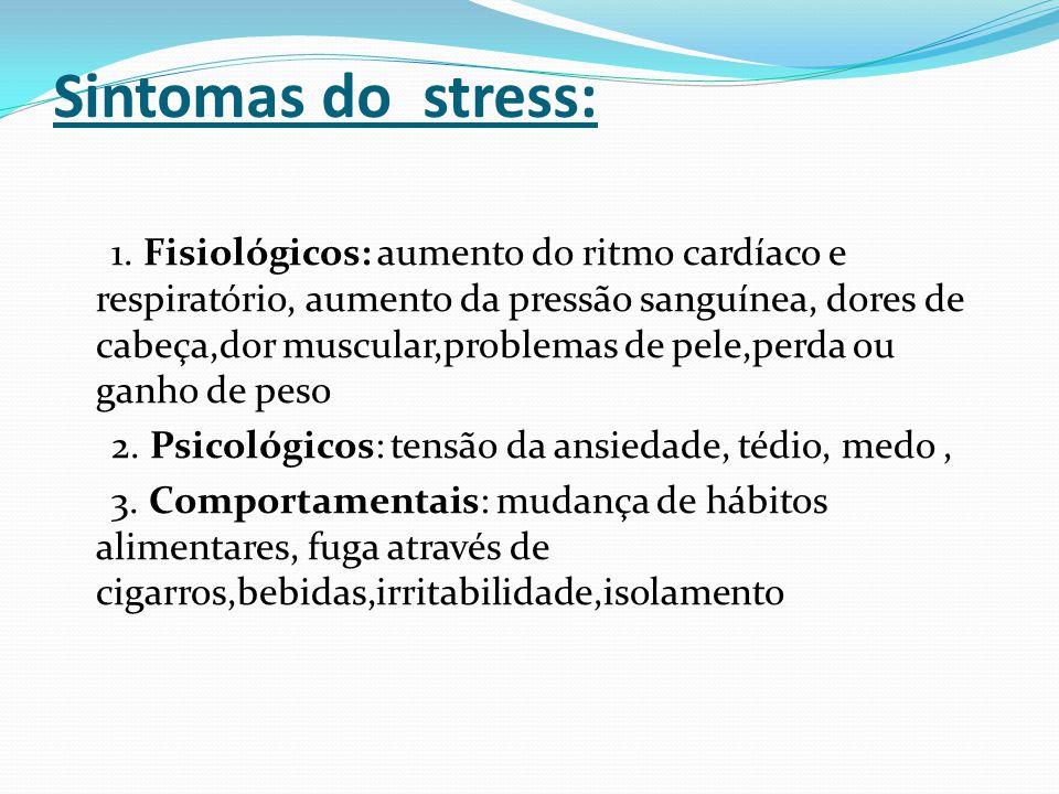 Sintomas do stress: 1. Fisiológicos: aumento do ritmo cardíaco e respiratório, aumento da pressão sanguínea, dores de cabeça,dor muscular,problemas de