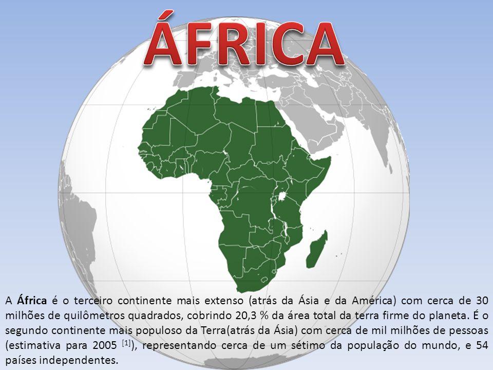 A África é o terceiro continente mais extenso (atrás da Ásia e da América) com cerca de 30 milhões de quilômetros quadrados, cobrindo 20,3 % da área t