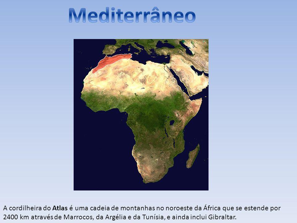 A cordilheira do Atlas é uma cadeia de montanhas no noroeste da África que se estende por 2400 km através de Marrocos, da Argélia e da Tunísia, e aind
