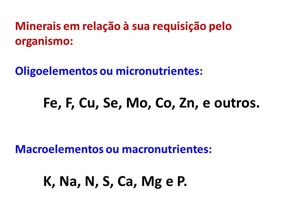 Minerais em relação à sua requisição pelo organismo: Oligoelementos ou micronutrientes: Fe, F, Cu, Se, Mo, Co, Zn, e outros. Macroelementos ou macronu