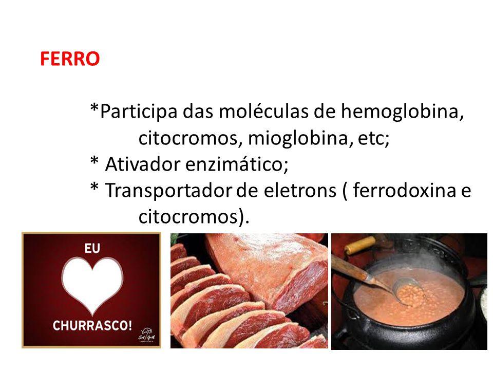 FERRO *Participa das moléculas de hemoglobina, citocromos, mioglobina, etc; * Ativador enzimático; * Transportador de eletrons ( ferrodoxina e citocro