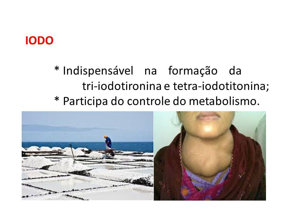 IODO * Indispensável na formação da tri-iodotironina e tetra-iodotitonina; * Participa do controle do metabolismo.