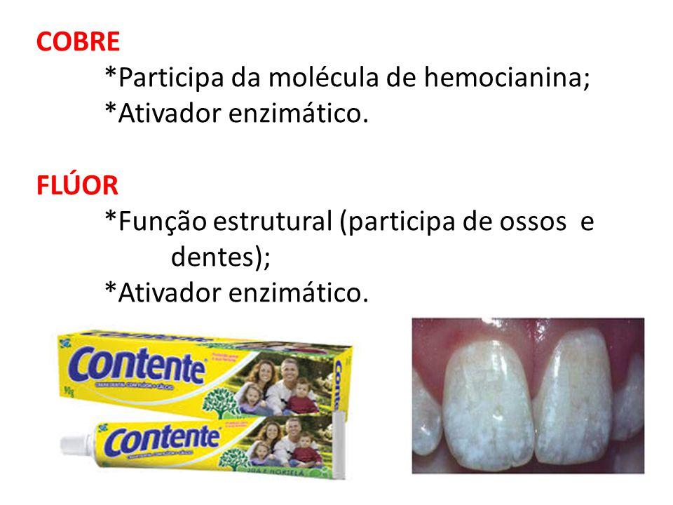 COBRE *Participa da molécula de hemocianina; *Ativador enzimático. FLÚOR *Função estrutural (participa de ossos e dentes); *Ativador enzimático.