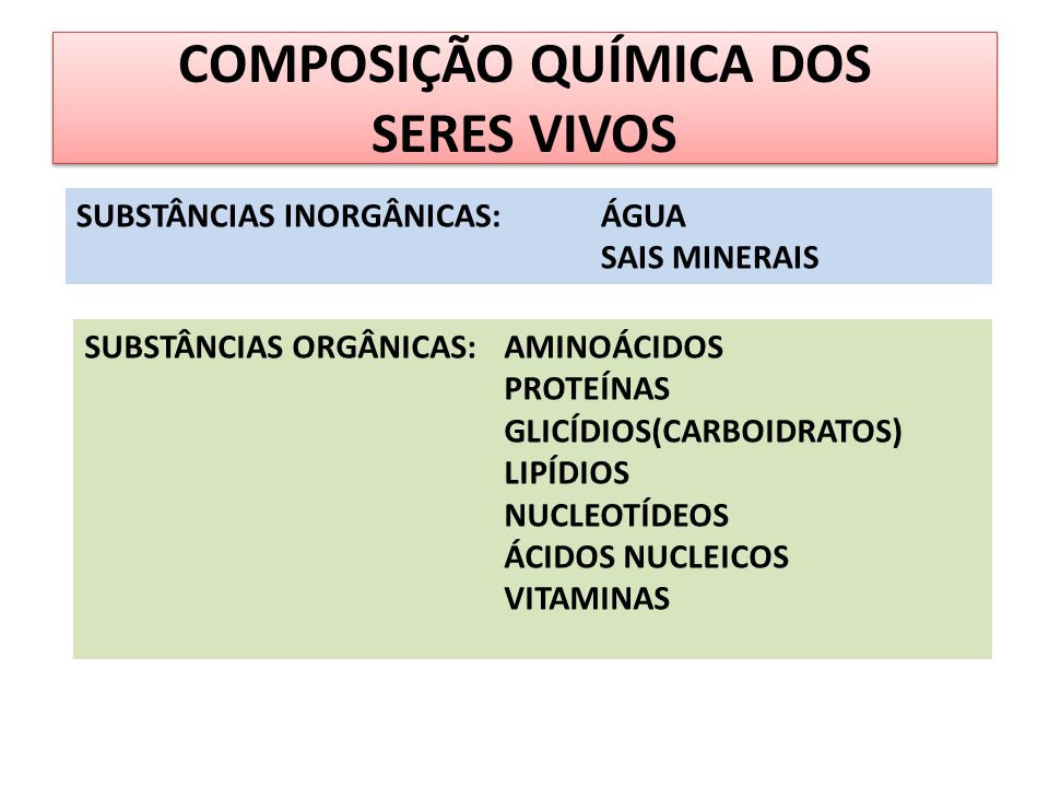 COMPOSIÇÃO QUÍMICA DOS SERES VIVOS SUBSTÂNCIAS INORGÂNICAS:ÁGUA SAIS MINERAIS SUBSTÂNCIAS ORGÂNICAS:AMINOÁCIDOS PROTEÍNAS GLICÍDIOS(CARBOIDRATOS) LIPÍ