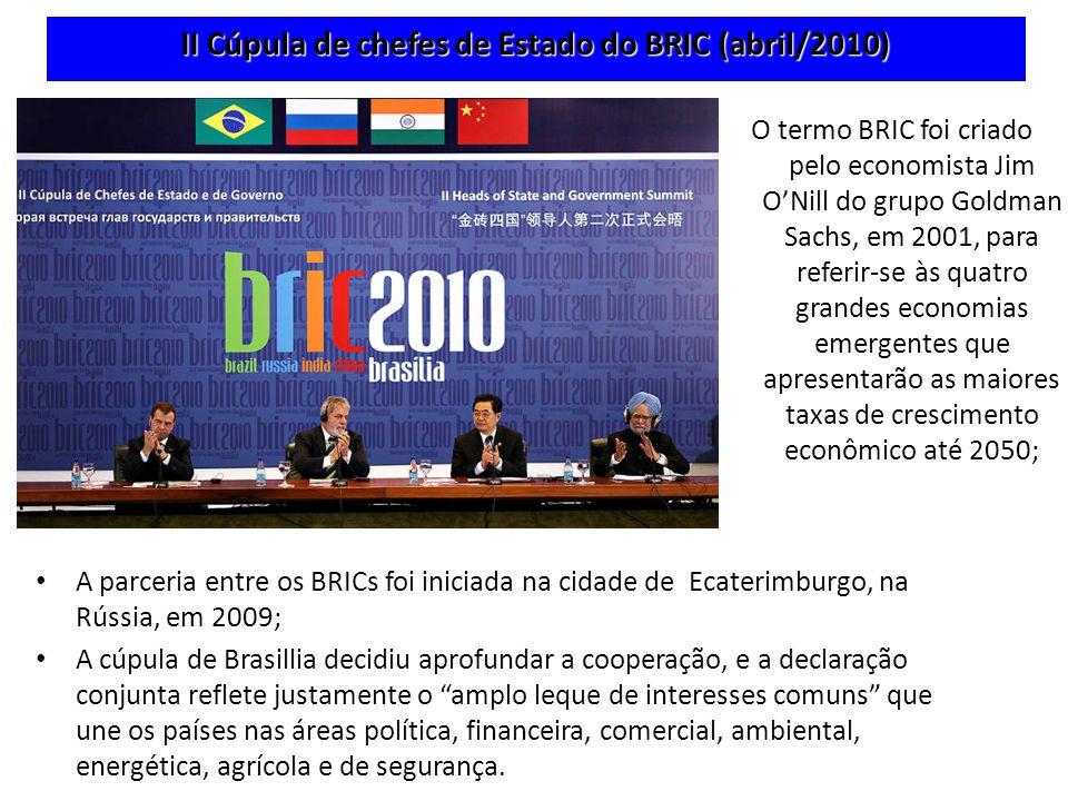 II Cúpula de chefes de Estado do BRIC (abril/2010) A parceria entre os BRICs foi iniciada na cidade de Ecaterimburgo, na Rússia, em 2009; A cúpula de