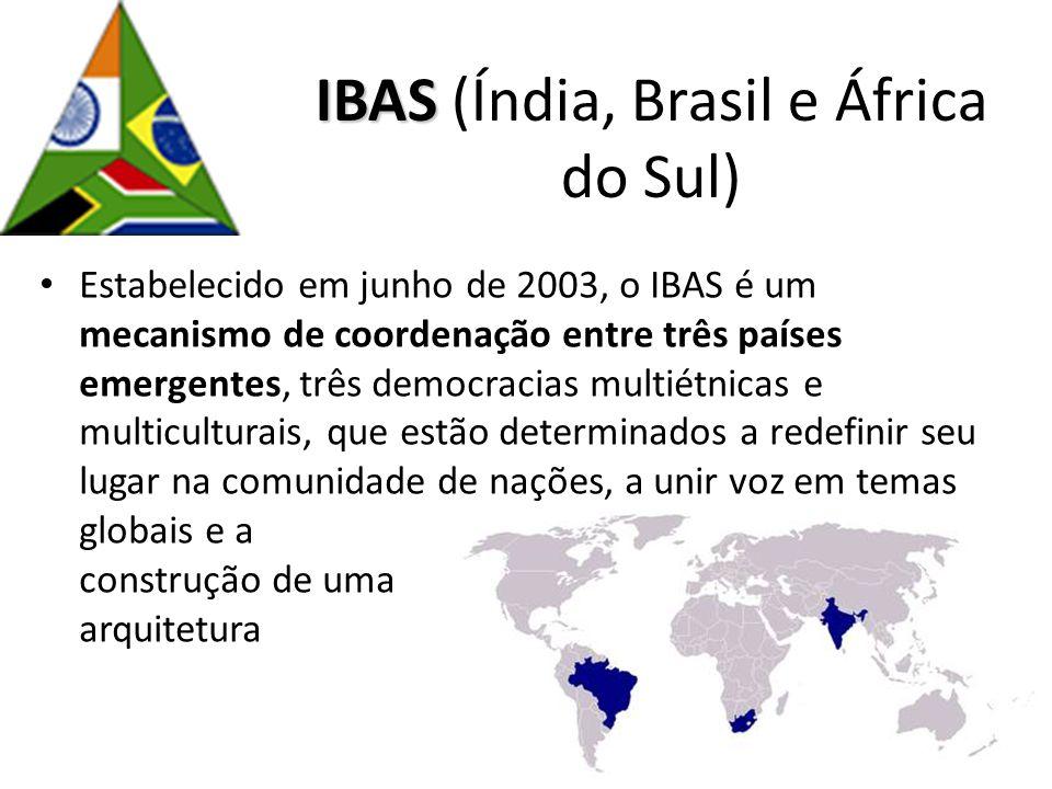IBAS IBAS (Índia, Brasil e África do Sul) Estabelecido em junho de 2003, o IBAS é um mecanismo de coordenação entre três países emergentes, três democ