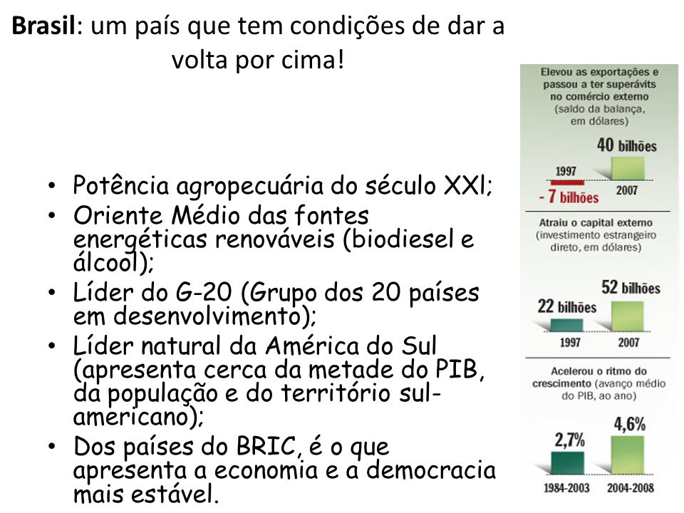 Brasil: um país que tem condições de dar a volta por cima.