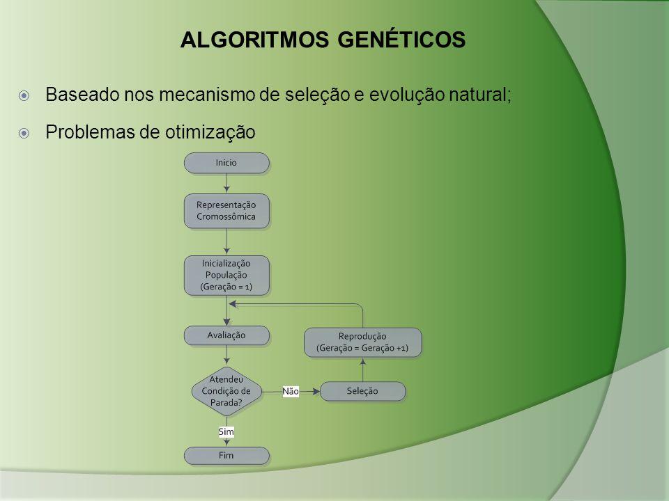 ALGORITMOS GENÉTICOS  Baseado nos mecanismo de seleção e evolução natural;  Problemas de otimização