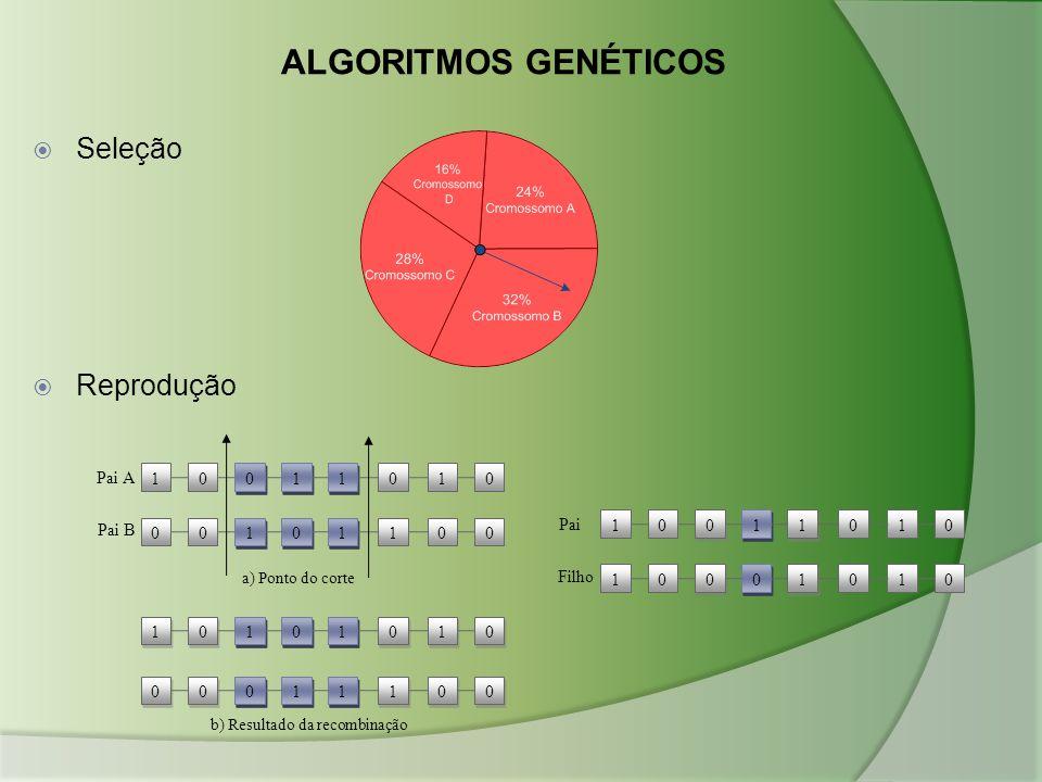 ALGORITMOS GENÉTICOS  Seleção  Reprodução Pai B Pai A 10 0 0 1 1 1 1 010 00 1 1 1 1 0 0 100 1 1 0 0 1 1 1 1 0 0 0 0 1 1 0 0 0 0 0 0 0 0 1 1 1 1 1 1