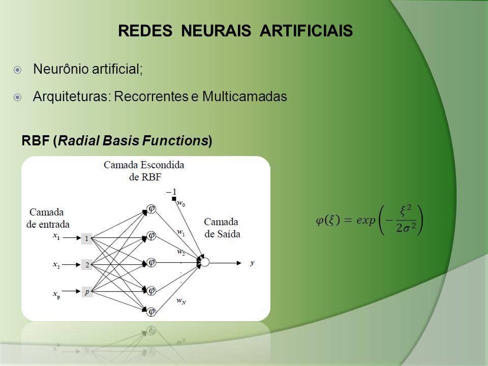 RBF (Radial Basis Functions) REDES NEURAIS ARTIFICIAIS  Neurônio artificial;  Arquiteturas: Recorrentes e Multicamadas